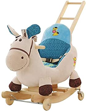 ZHANGYUEFEIFZ Caballito Balancín de Peluche Balancín Caballo Rocking Horse Baby Trojan Toy Silla Cochecitos para Niños Música Shake Horse Baby Cradle Trolley Rueda Universal