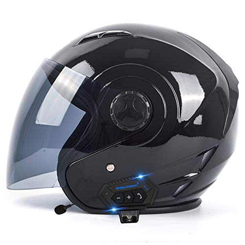 ZLYJ Bluetooth Jet Helm Motorrad Open Face 3/4 Helm, Vintage Adise Unisex Jet Helm, Retro Crash Halbhelm Mit Doppelvisier, ECE-Zertifiziert J,S(55-56cm)