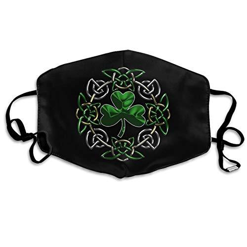 Irish Celtic Shamrock Adjustable Windproof Mask Reusable Face Mask for Adult White