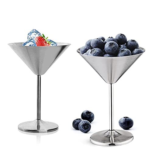 Aoser Set di Bicchieri da Cocktail Martini, 2 PCS Calice da Vino in Acciaio Inossidabile, Bicchiere da Martini in Acciaio Inossidabile, Bicchieri da Vino, Bicchiere da Martini, per Cocktail Party