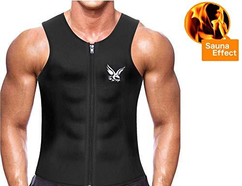 Fit-stijl tailtrainer vest voor gewichtloos hot neopreen corset body shaper rits sauna tank top. Slimming Body Shaper Neopreen for Men (Size L)