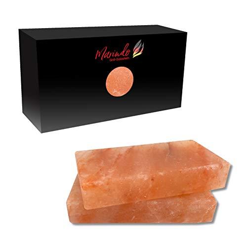 Marindo® Barbecue Pierre de sel XL | Pierre de sel pour barbecue | Lot de 2 | Extra épais : 20 x 10 x 4 cm | Sel de cristal pur | Planchette de sel | Bloc