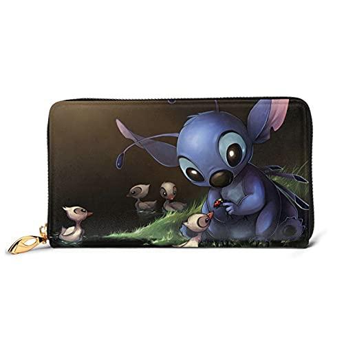 Lilo - Cartera larga de cuero con puntadas de dibujos animados para billeteras, resistente al agua, cartera de lujo a la moda para el titular de la tarjeta, bolso de viaje grande, tamaño único