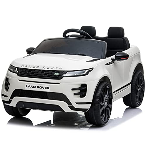 Kids Ride On Toys Land Rover 12V Battery Powered Ride On Electric Car, with MP3, LED Lights, 2.4G Parental Remote Control, Plastic seat, for Boys and Girls 3-8 Years Old (While)