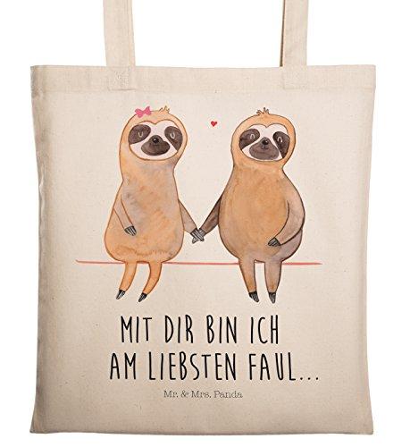 Mr. & Mrs. Panda Jutebeutel, Umhängetasche, Tragetasche Faultier Pärchen mit Spruch - Farbe Transparent