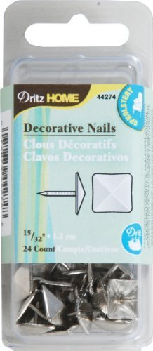 Dritz 44274 Upholstery Decorative Square Head Nails, Silver, 15/32-Inch, 24-Pack by Prym Consumer USA (English Manual)