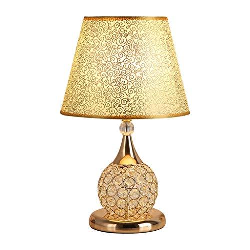 HUANGDA Rote k9 kristall tischlampe led möbel Dekoration Wohnzimmer Schlafzimmer nachttischlampe romantisch warm dimmbar (Color : Gold)