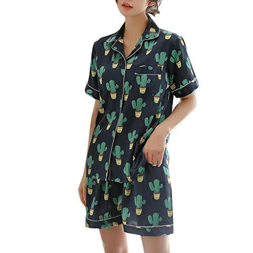 Damen Sexy Pyjamas FGHYH Frauen Simulation Silk Printing Pattern Pyjamas Nachtwäsche Nachtwäsche Set(XL, Navy)
