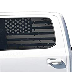 Distressed American Flag Decals in Matte Black for 2015 Custom Design FF5A 2016 Ford F150 Crew Cab or 2018 Crew Cab side windows 2017