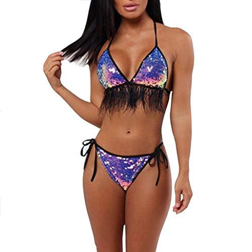 Asalinao Badeanzug-Bikini-BH mit Zwei Pailletten und Fransen aus Bikini mit Fransen