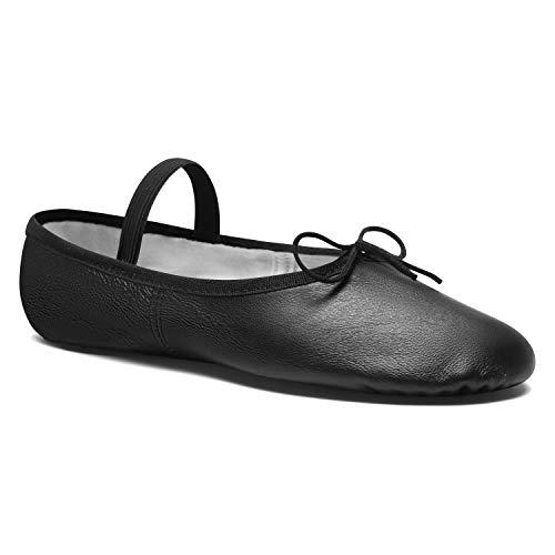 DWS Media Punta 1003 Cuero Zapatos de Baile Zapatilla Ballet Ballerina Mujer Niña Ballerina Principiante Ensayo Clase Baile Entrenamiento Ancho Medio Suela Entera Cromo rosa