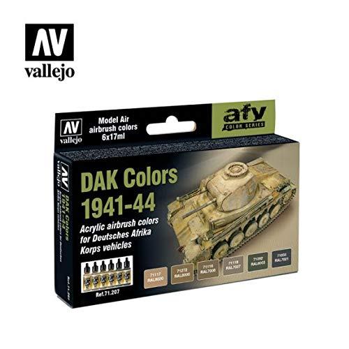 Vallejo AV Model Air Set-DAK Colors 1941-1944 Vernici da Utilizzare con Un aerografo, Vario, 17ml