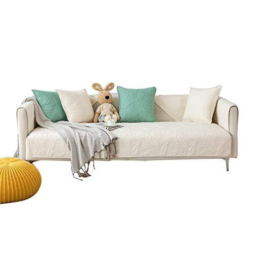 Jklt Funda de sofá práctica para sofá, funda de algodón, cojín antideslizante, moderno, minimalista, para mascotas, color blanco, tamaño: 110 x 210 cm