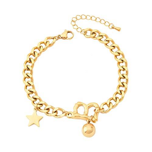 Pulsera de alfabeto titanio anillo grueso anillo de cinco puntas pulsera de estrella horno chapado pulsera de oro de 18k