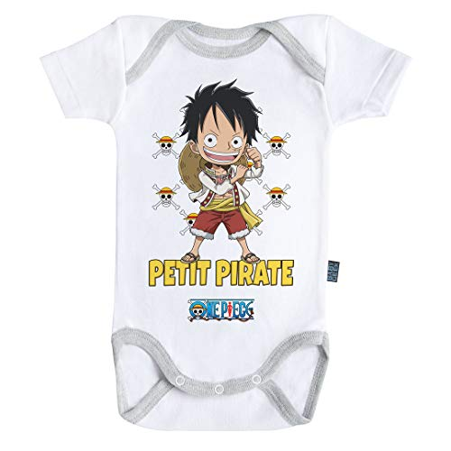 Baby Geek Petit Pirate Luffy - One Piece ™ - Licence Officielle - Body Bébé Manches Courtes (6-12 Mois)