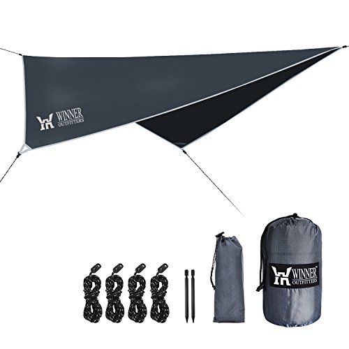 WINNER OUTFITTERS Hammock Rain Fly,Ripstop Nylon Waterproof Tent Tarp Shelter for Camping,Backpacking,Hiking in Sunshade,Moisture,Rain,Lightweight&Portable,Easy Set Up(Diamond)