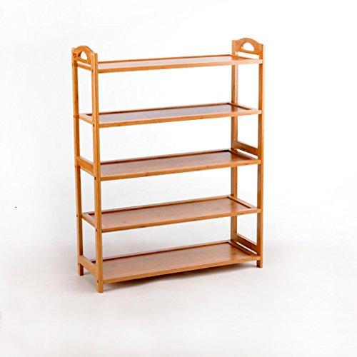 CHGDFQ Zapatero de bambú de 5 niveles, estante simple de múltiples capas, moderno extraíble, gabinete de zapatos montado en el hogar, 67,5 x 25 x 88,5 cm