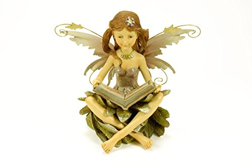 "Figura Decorativa Jardín "" Hada con Libro Luz Solar"". Figuras Resina.32 x 21 x 26 cm."