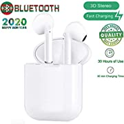 Bluetooth Headset 5.0 Wireless Earbuds, Built-in Handsfree Microphone and Charging Case, Noise Reducing 3D Stereo, Pop-ups Auto Pairing for Apple Airpods Android/AirPods Pro/iPhone/Samsung