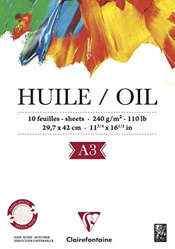 Clairefontaine 96316C - Bloc de papel para pintura al óleo (10 hojas), color blanco