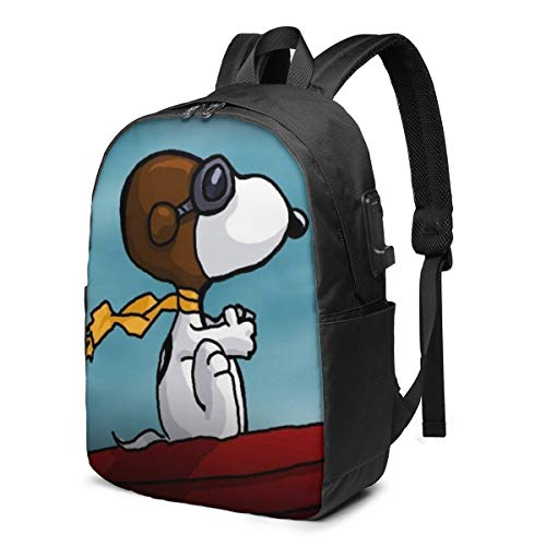 Snoopy USB Backpack 17 in Unisex Laptop Backpack Travel,Durable Waterproof with USB Charging Port for School College Students Backpack