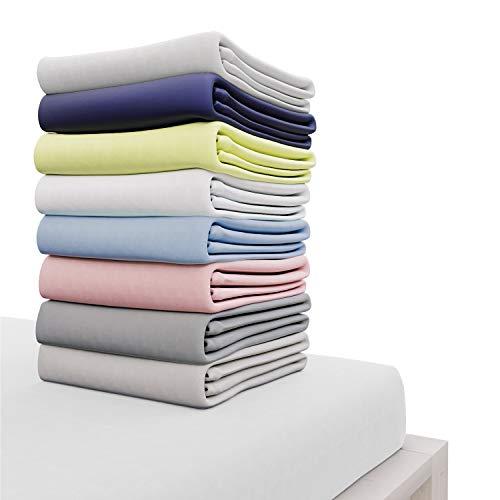 Dreamzie - Spannbettlaken 150x200 cm - 100% Jersey Baumwolle Zertifiziert Oeko-TEX® - Weiß - Für Matratzen 150 x 200 x 27 cm