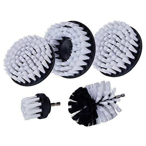 LSANS 3/4 / 5 unids Power Scrub Cepillo Limpio para Cuero plástico Muebles de Madera Interiores de automóviles Limpieza Power Scrub 2/3.5/4 / 5inch (Color : 5Pcs)