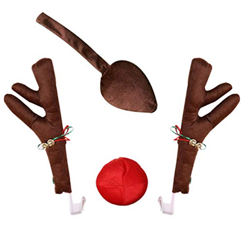 FAVOMOTO 1 Set Car Christmas Reindeer Antler Decorations Rudolph Elk Ear with Jingle Bells Red Nose Tail Auto Accessories Costume for Car Windows Front Grille Xmas Gift