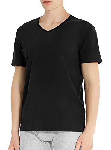 Genuwin T-Shirt per Uomo, Maglietta Intima Tee di 100% Cotone Manica Corta a Scollo V (Pacco da 3), Tessuto Super Soft Resistente e Traspirante Antisudore, Design Elegante Classico Maschile