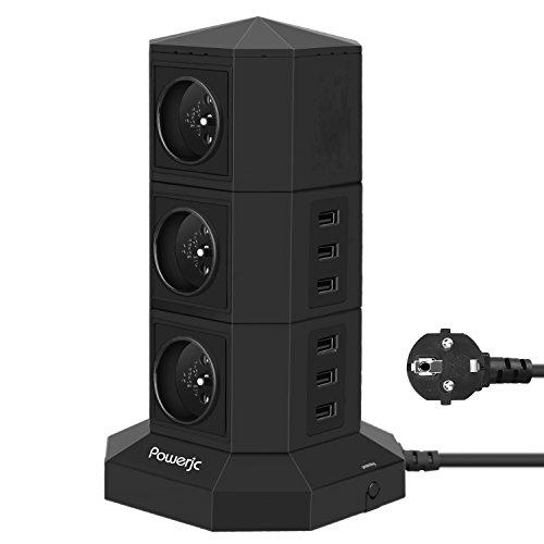 MehrfachsteckdoseTurm 6 Fach Steckdosenleiste (2500W/10A) und 6 USB-Anschlüsse zum intelligenten Laden (5V/4.2A), Überspannungsschutz und Kurzschlussschutz,Powerjc Steckdosenturm mit usb,Zuleitung 2m