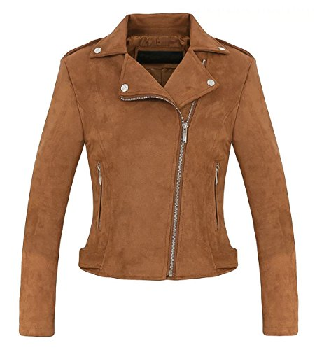 CHARTOU Women's Stylish Notched Collar Oblique Zip Suede Leather Moto Jacket (Large, Coffee)