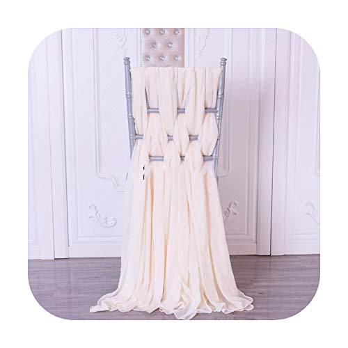 Nuestra DAE - Funda para silla de 6 cinturones, una unidad marfil oscuro o muy ligera, champán, muselina de seda, tejido, blanco, Standard chiavari