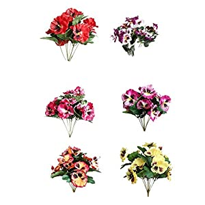 Cratone 6Pcs Artificial Flowers Imitation Pansy Silk Flowers Creative Home Furnishing Simulation Plant for Wedding Home Outdoor Cemetery Party Decoration Size 26cm (A)