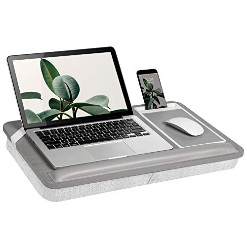 Rossie Home Premium Ash Wood Lap Desk with Wrist Rest, Mouse Pad, and Phone Holder - Fits Up to 15.6 Inch Laptops - Harbor Grey - Style No. 91705