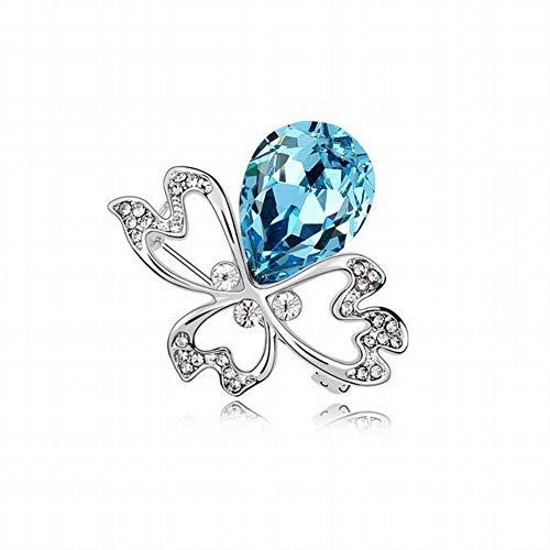 HOX Broche de Cristal de Swarovski Broche de la Ropa de Moda de la Flor de Araña Aleación Aleación Cristalina del Elemento de Swarovski Chapada en Oro, océano Azul