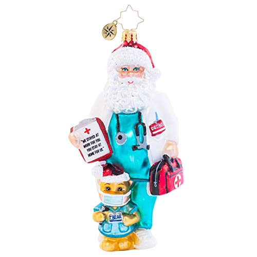 Christopher Radko Hand-Crafted Covid Christmas Ornament, Dr. Claus Cares