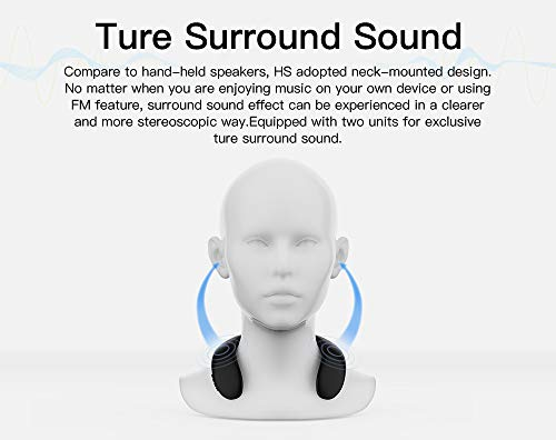 Neckband Bluetooth Speakers, Bluedio Wireless Wearable Speakers with True 3D Surround Sound/SD Card Slot/FM Radio/Mic, Sweatproof Portable Personal Speakers for iPhone Android for Music/Sports