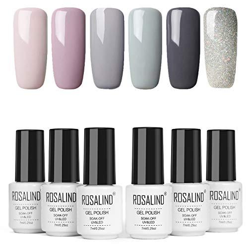 ROSALIND 6 Stück Gel-Nagellack Imprägniert das Design-Set für Nagellack-Set für Semipermanenten Nägel, Set Di Grigio