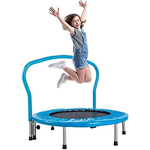 Creativem Trampoline with Handle Trampoline for Kids Indoor 36' Mini Toddler Trampoline with Safety Padded Cover for Indoor Outdoor Cardio Exercise