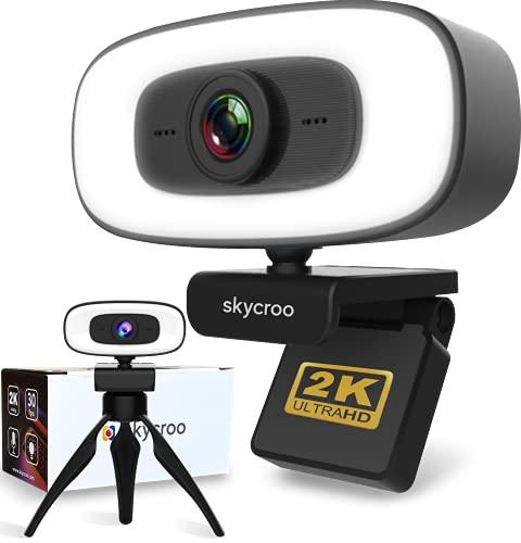 SKYCROO | Webcam pour PC + Trepied - Camera Ordinateur 2K + Micro Accessoire Bureau Gaming LED Series Mini Video Caméra HD Pro Compatible Ps4 Xbox Windows Mac Android 1080p Clavier Souris Portable 4K
