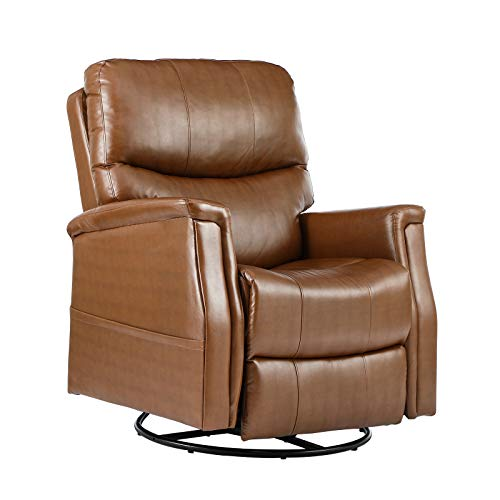eclife Massage Recliner Chair with Lumbar Heating, 360 Degree Swivel& Rocking, Ergonomic Lounge Chair, Reclining Sofa for Living Room, Side Pocket, Remote Control (Light Brown + PU, Swivel+Rocking)