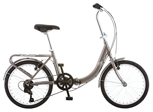 New Schwinn Loop Adult Folding Bike, 20-inch Wheels, Rear Carry Rack, Silver
