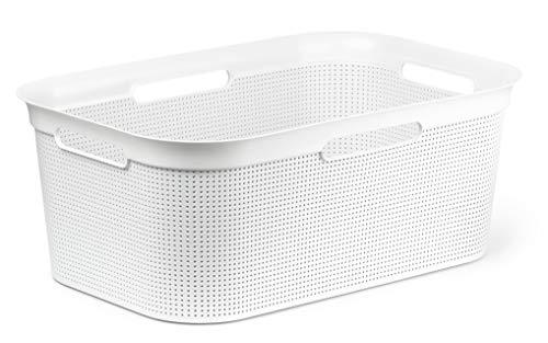 Rotho Brisen Wäschekorb 40 l, Kunststoff (PP), weiss 40 Liter (60 x 40 x 23,2 cm)
