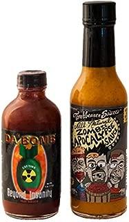 Da Bomb Beyond Insanity Hot Sauce and Zombie Apocalypse Hot Sauce Bundle | Da Bomb Habanero Hot Sauce 4 oz | Zombie Apocalypse Hot Sauce | Hot Pepper Sauce | Da Bomb Sauce