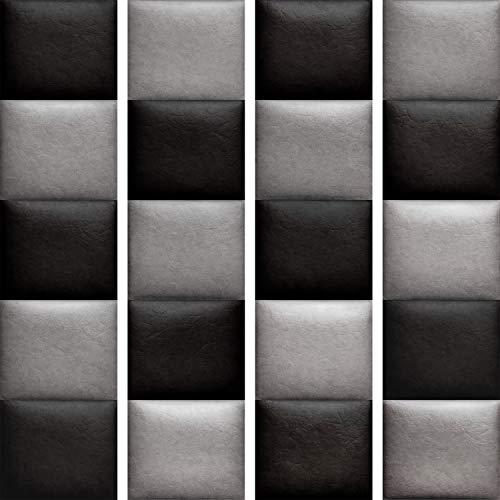murando Papel Pintado PURO 10m Fotomurales tejido no tejido rollo Decoración de Pared decorativos Murales XXL moderna de Diseno Fotográfico cuero tablero de ajedrez ajedrez pared gris negromarron beige f-A-0185-j-b