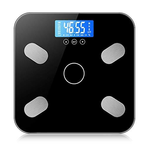 LQH Digital-Körper-Gewicht-Badezimmer-Skala Ultra Slim, Easy Read gehärtetes Glas, Step-On Technologie, Elektronische Präzisions - Schwarz