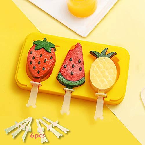 Cozywind Molde para Helados Silicona, Grado Alimenticio sin BPA, 1Unidad Reutilizable Moldes Casero para Helados, para Bebé niños(Frutas)