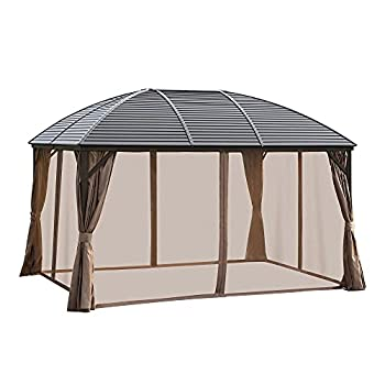 Outsunny 10  x 13  Aluminum Frame Hardtop Patio Gazebo Outdoor Canopy with Mesh Nettings Practical Curtains Arc Roof & Roomy Interior Space