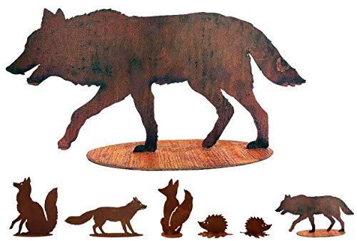 Gartenfigur Rost auf festem Stand – Hochwertig & Wetterfest - Metall Tierfigur - Edelrost Dekofigur / Tier Figur – Gartendeko / Dekoration (Wolf - Höhe 40cm)