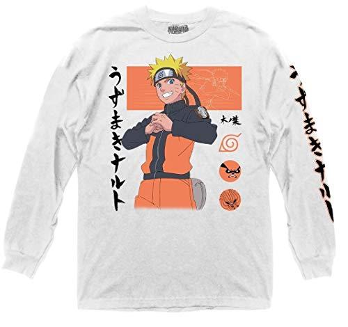 Ripple Junction Naruto Shippuden Adult Unisex Naruto Block Symbols Light Weight 100% Cotton Long Sleeve Crew T-Shirt MD White